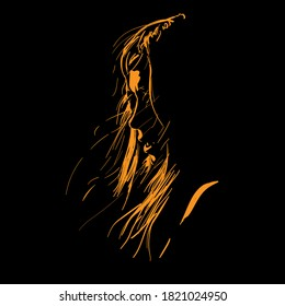 Woman Face silhouette with flying hair in contrast backlight. Vector.