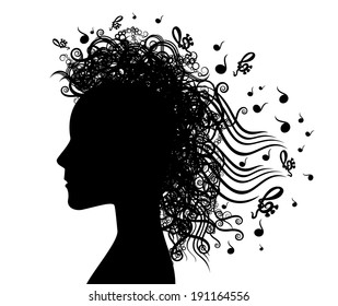 woman face silhouette and musical graphic background illustration