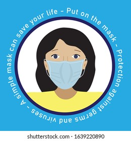 Woman face in surgical mask. Young woman with medicine health care mask in cirkle template. Protection against germs and virusis. Vector flat stock isolated illustration.