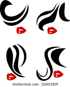 Woman face symbol red lips beauty icons