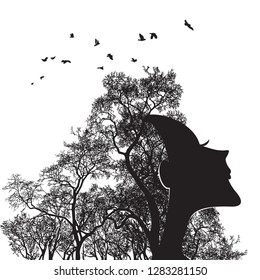 Woman face and tree silhouette - vector illustration. Double exposure in outline graphics - a portrait of a beautiful girl and a tree branch like hair. The concept of the living soul of nature.
