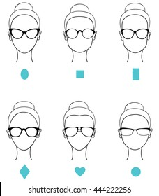 Woman face types. female glasses types. Vector illustration