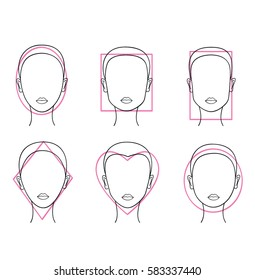 Woman face types. Round, rectangle, square, heart, oval female face shapes.