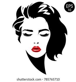 Woman face. Vector fashion portrait of pretty girl with red lips.
