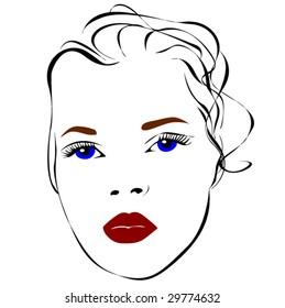 Woman face. Vector illustration.