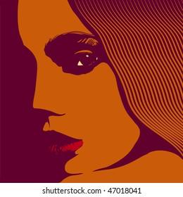 Woman face, vector illustration.
