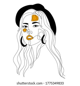 Woman face vector. Portrait of young woman with hair. Face of beautiful girl. Hand-drawn illustration. Beauty salon logo. Line drawing. Line illustration. Strong woman. One line art face
