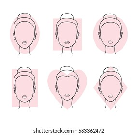 Woman faces types. Heart, round, oval, diamond, rectangle, square shapes. Vector illustration.