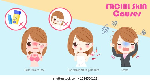woman with facial skin causes on the blue background