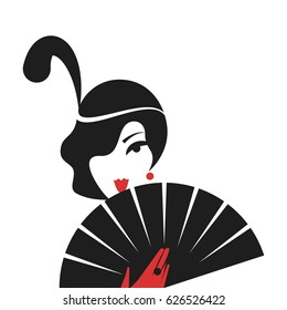 Woman with a fan in vintage style 1920's. Retro fashion vector illustration isolated on white background.