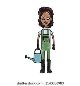 Woman farmer cartoon scribble