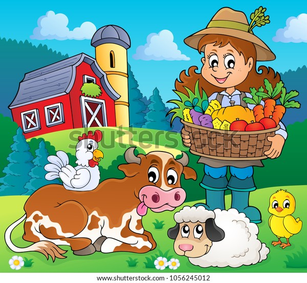 Woman farmer with harvest and animals - eps10 vector illustration.