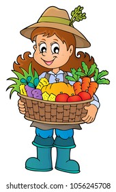 Woman farmer holding harvest theme 1 - eps10 vector illustration.