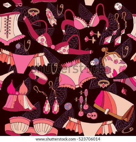 d45bf16ea2 Woman Fashion Accessories Seamless Pattern Underwear Stock Vector ...