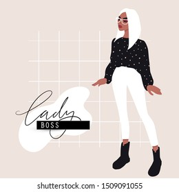 Woman fashion card in cartoon flat style. Lady Boss. Stylish girl in trendy clothes. Colorful vector illustration. Template with hand drawn inscription about outfit.