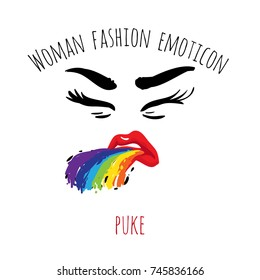 Woman fashion emoticon: puke. Vector emoji, smiley icons, characters. Fashion illustrated woman's emotional face.