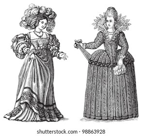 Woman fashion - german (left) and french (right) - Renaissance period (1520-1605) / vintage illustration from Die Frau als hausarztin 1911