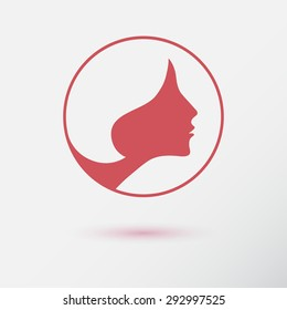 The woman fashion icon or logo with flower. Flat design. Contour lines. Vector illustration