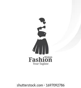 woman fashion logo template. beautiful girl wear dress vector illustratation