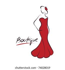 woman fashion logo, vector