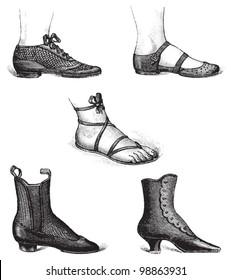 Woman fashion - shoe collection / vintage illustration from Die Frau als hausarztin 1911