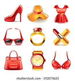 Woman fashion and shopping icons detailed vector set