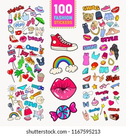 Woman Fashion Stickers Collection with Accessories and Clothes. Girlish Badges Embroidery. Vector illustration