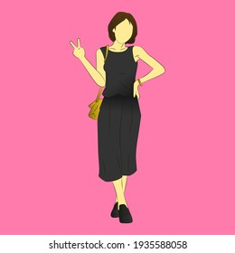 woman fashion style illustration for any work.
