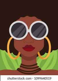 Woman Fashion Vector Portrait African American Female Cool Sunglasses Hoop Earrings Jewelry Natural Hair Funky Background