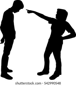 A woman or a father and teenage son conflicts, disputes the shadow home isolated on white background, a couple of difficulties.
