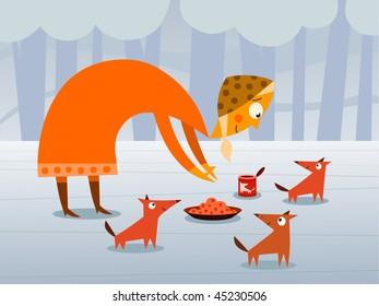Woman feeding dogs - vector