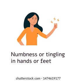 Woman is feeling numbness and tigling in limbs cartoon style, vector illustration isolated on white background. Female has abnormal sensation in hands and feet as diabetic disease symptom