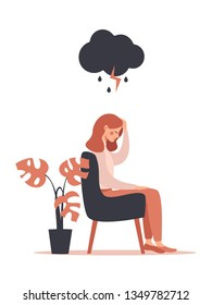 woman feels headache and depression sitting under rainy and stormy cloud. Vector illustration isolated from white background