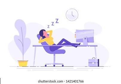 Woman fell asleep at the table in the office. Work overtime. Modern vector illustration.