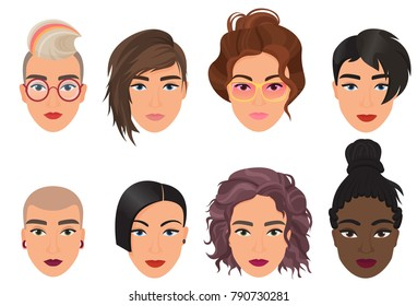 Woman female avatar set vector illustration. Modern multiethic beautiful young girls portrait with different fashion hair style.