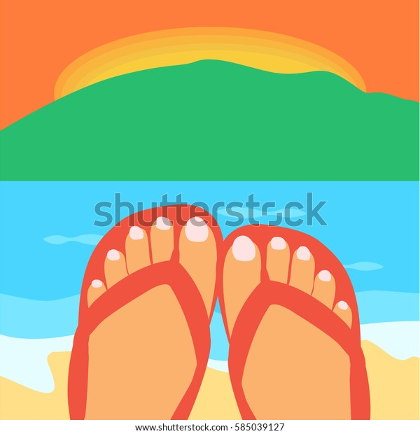 a woman & female feet with a long nails in a flip-flops in the