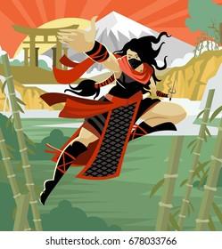 woman female ninja warrior with sai blades on japanese mountains