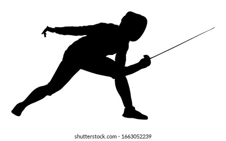 Woman fencing player portrait vector silhouette isolated on white background. Fencing competition event. Sword fighting. Fence battle.