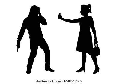 The woman fight against bandit with pepper spray silhouette vector