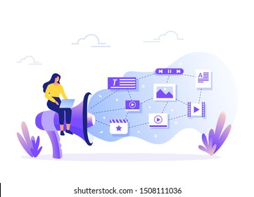 Woman fill web page with content. Management, SMM and Blogging concept in flat design. Creating, marketing and sharing of digital - vector illustration.