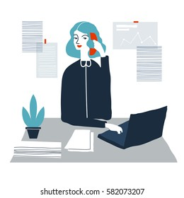 Woman financial accountant. Secretary assistant vector illustration. Young businesswoman. Creative modern vector illustration.