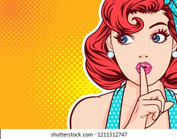woman with finger on lips, silence gesture, pop art style woman banner, shut up.Woman with message Shhh for stop talk