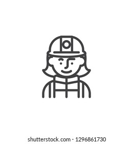 Woman firefighter avatar character line icon. linear style sign for mobile concept and web design. Firewoman in helmet outline vector icon. Symbol, logo illustration. Pixel perfect vector graphics