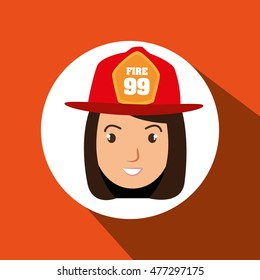 woman firewoman helmet icon