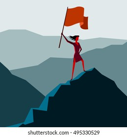 Woman with flag on a Mountain peak, Business success concept