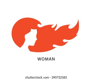 Woman with flame hair. Beauty salon, cosmetics, spa creative logo, icon. Vector illustration