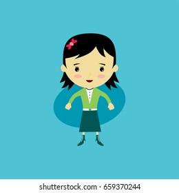 woman flat cartoon - young adult girl vector art - beauty fashion