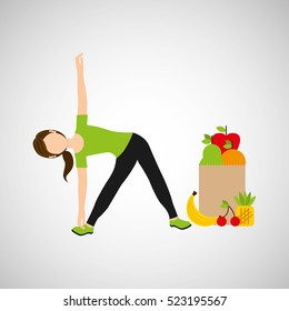 woman flexibility exercising healthy food bag vector illustration eps 10