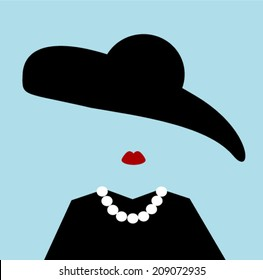 woman with floppy hat and pearls