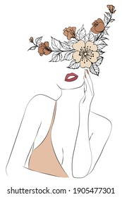 Woman with Flower Head Line Art, Fashion, Vector, Illustration, Poster, Postcard